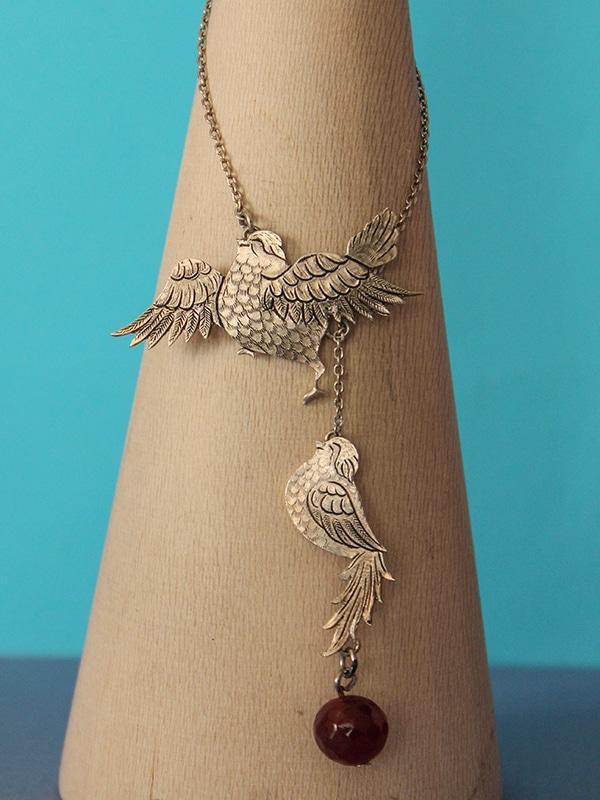 گردنبند دو پرنده(سنگ گوی عقیق ) کد153