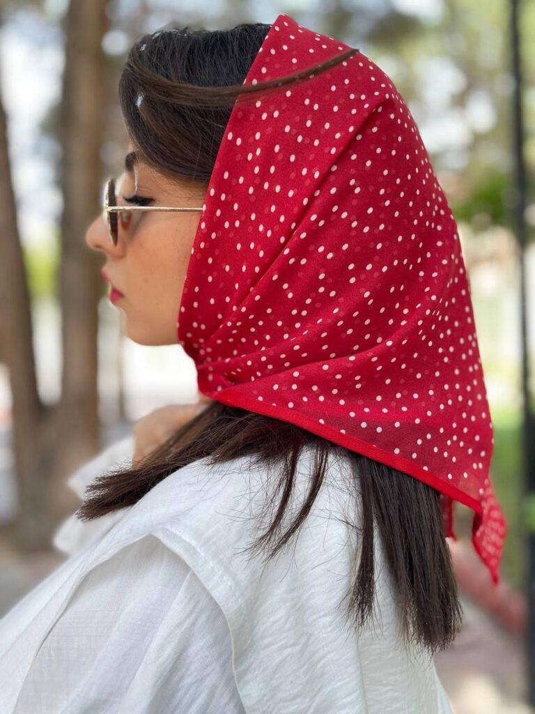روسری حریر مینی اسکارف قرمز کد SL300