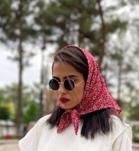 روسری حریر مینی اسکارف قرمز کد SL301