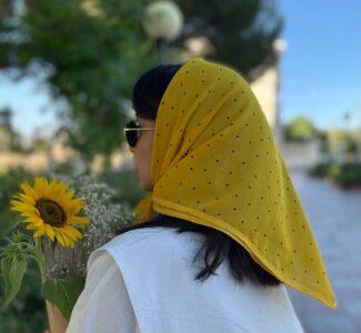 روسری حریر مینی اسکارف زرد کد SL302